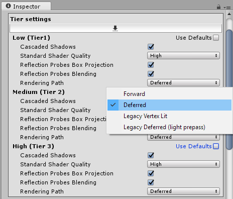 Screenshot of graphics settings in inspector