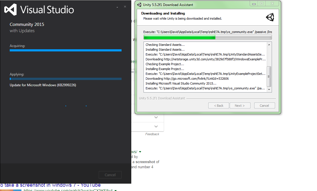 Unity installation stuck during visual studio installation - Unity
