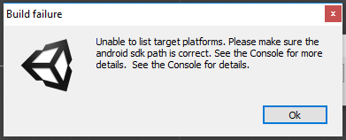 Unable to list target platforms  Build SDK trouble  - Unity Answers