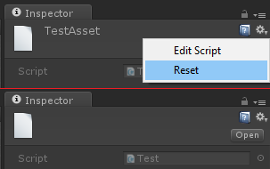 Reset' action in ScriptableObject context menu remove 'name
