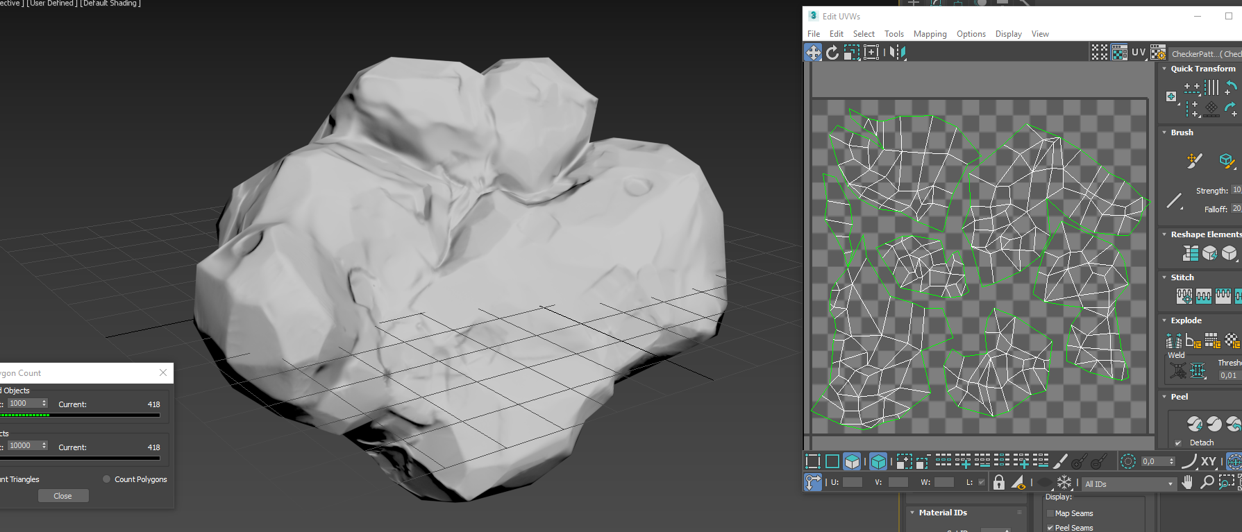 My object in 3ds max with normal mapping and UV mapping