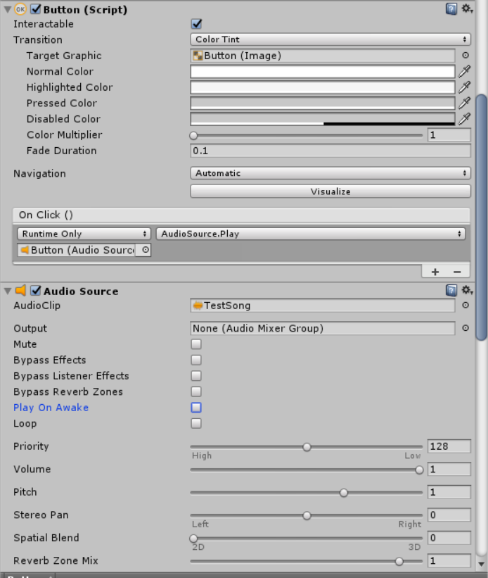 I want to press a Button and play a sound? - Unity Answers