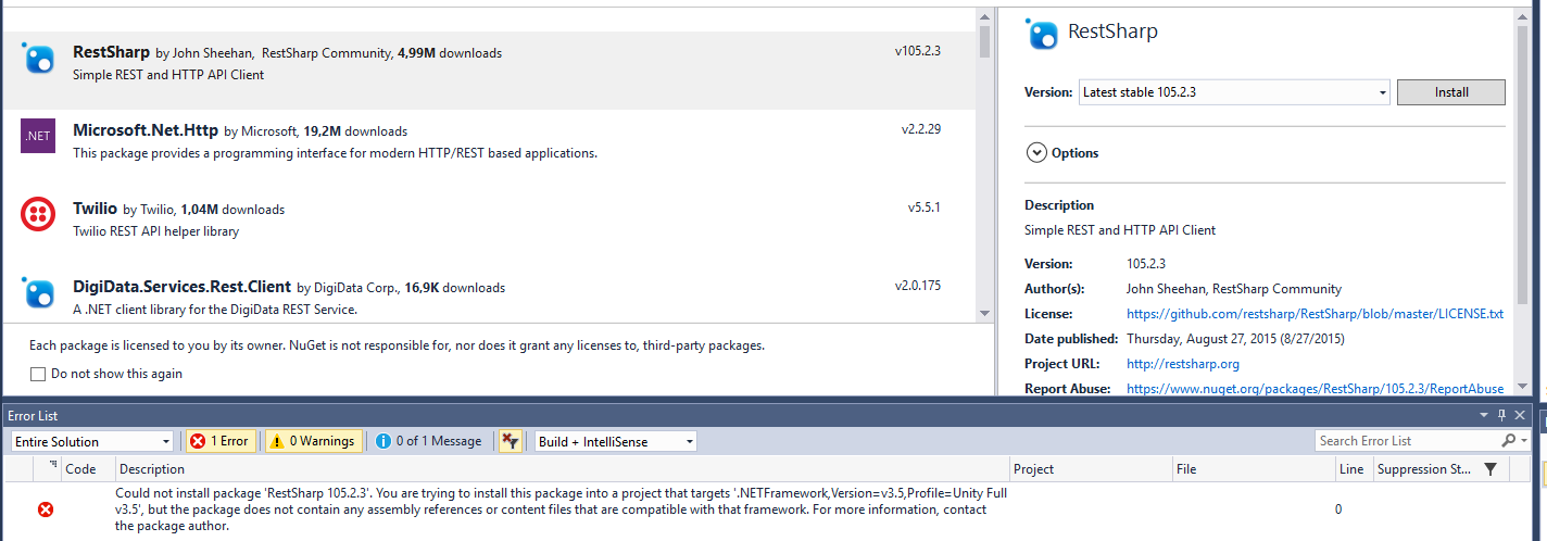 install unity nuget package